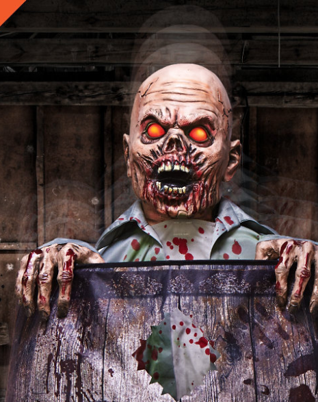 Zombies like moonshine too. This decoration is motion activated and will surprise passersby