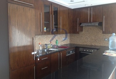 The kitchen in the 543-square foot apartment with view of Business Bay now available in downtown Dubai.