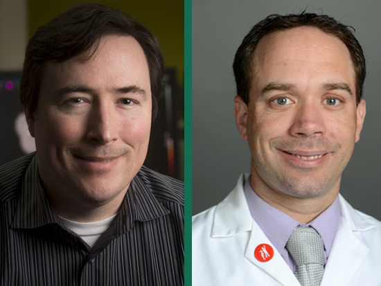 UAB Drs. Jonathan McConathy, M.D., Ph.D. (left) and Corey Falcon, M.D. (right)