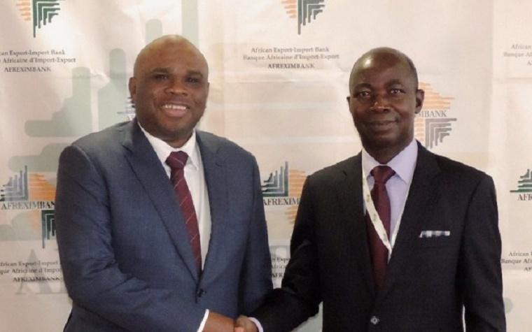 Afreximbank President Benedict Oramah, right, and Eugène Allou-Allou, Ivory Coast ambassador to Egypt.