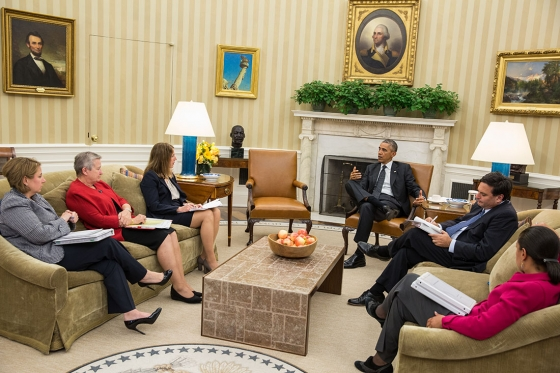 President Obama meets with his Ebola-response team in October.