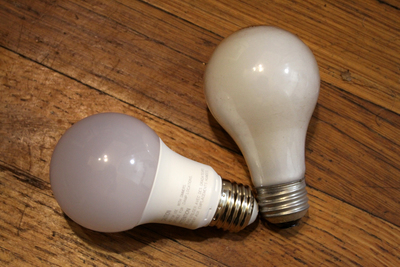 Today even the most basic light bulbs can be replaced by LED versions (shown at left).