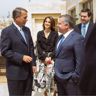 U.S. Speaker of the House John Boehner (left) is welcomed by His Majesty King Abdullah II and Her Majesty Queen Rania Al Abdullah Sunday in Jordan.