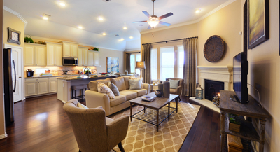 The Lennar model home has an expansive kitchen and family room.