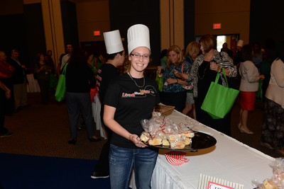 CFISD culinary arts students provided refreshments while wearing a t-shirt with the 2014-2015 theme, Lead the Way, designed by Cypress Springs High School student Isabel Serrano.