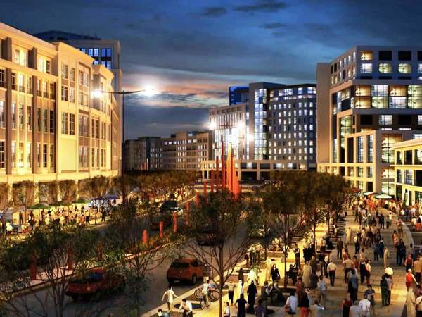 This rendering of potential mixed-use development depicts a strong urban village with hotels, housing, office and retail space.