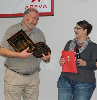 AREVA employee John Veysey received a special award from he Tri-County Partners Habitat for Humanity.