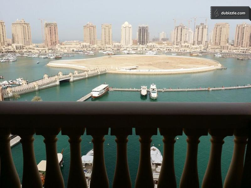 The marina view from an available two bedroom at The Pearl.