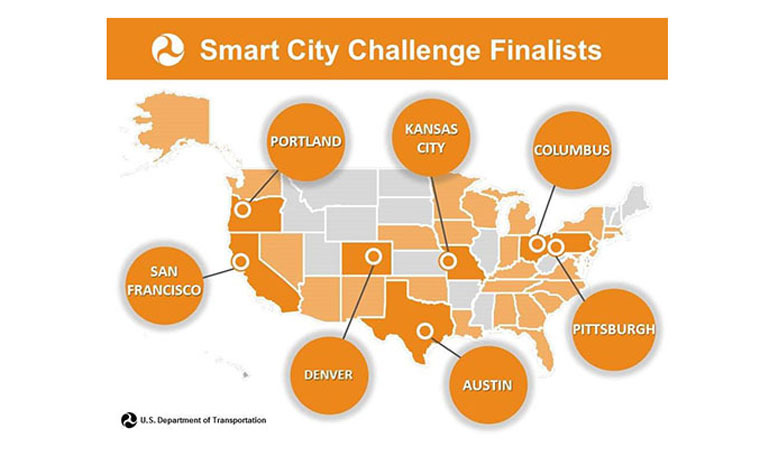 A map of Smart CIty Challenge Finalists.