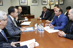 Armenian Prime Minister Hovik Abrahamyan and other Armenian delegates meet with World Bank representatives.