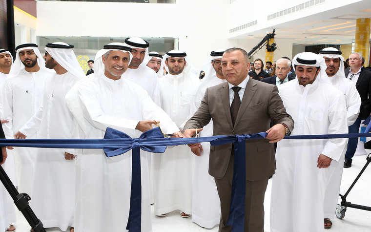 Chairman Ghassan Aboud during the official ribbon-cutting ceremony in November for Ghassan Aboud Cars new HQ in Jebel Ali Freezone. Alongside him is JAFZA Chief Operating Officer Talal al Hashimi.