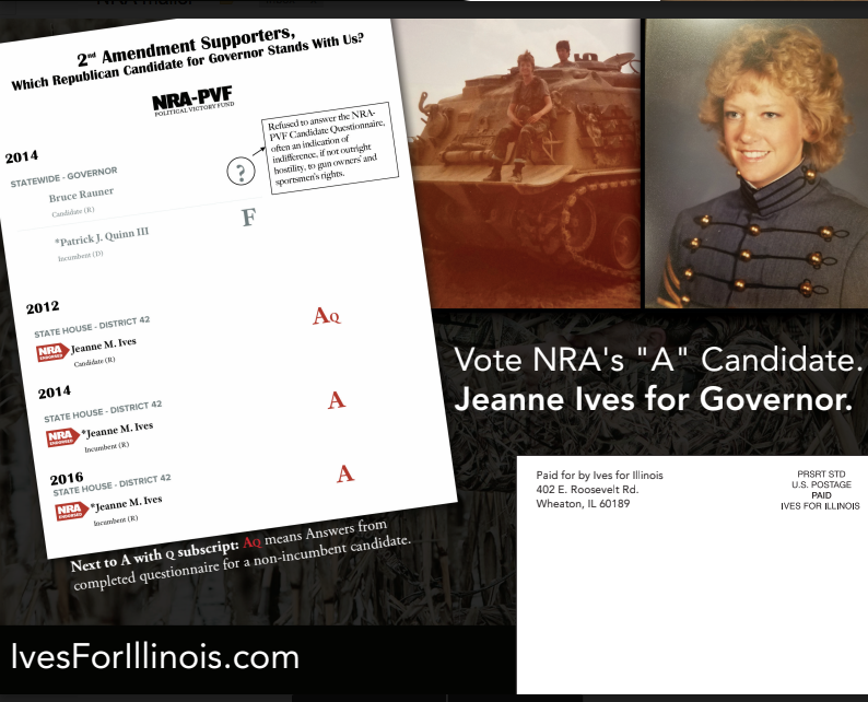 GOP gubernatorial hopeful Jeanne Ives is criticizing Gov. Bruce Rauner for refusing to state his position on the Second Amendment. Gun rights groups fear Rauner will sign new gun control measures.