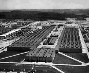 Aerial view of the K25 Plant at the Oak Ridge site of the Manhattan Project.