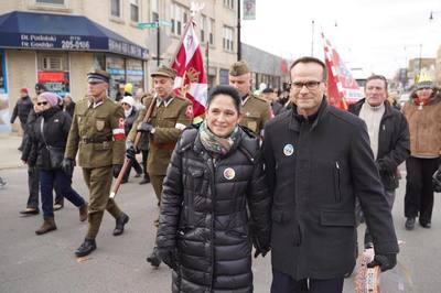 State Comptroller and mayoral candidate Susana Mendoza and husband, David Szostak