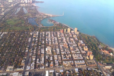 An aerial view of Jackson Park in Chicago, the proposed home of the Obama Center.