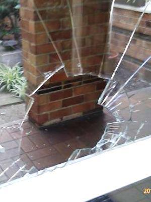 Broken glass door