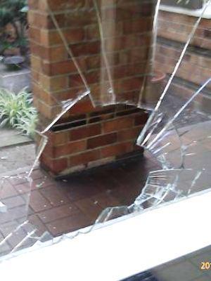 Large broken glass door