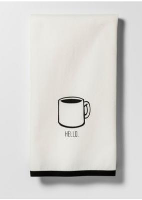 Black Hello Coffee Cup Kitchen Towel