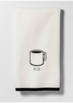Black Hello Coffee Cup Kitchen Towel
