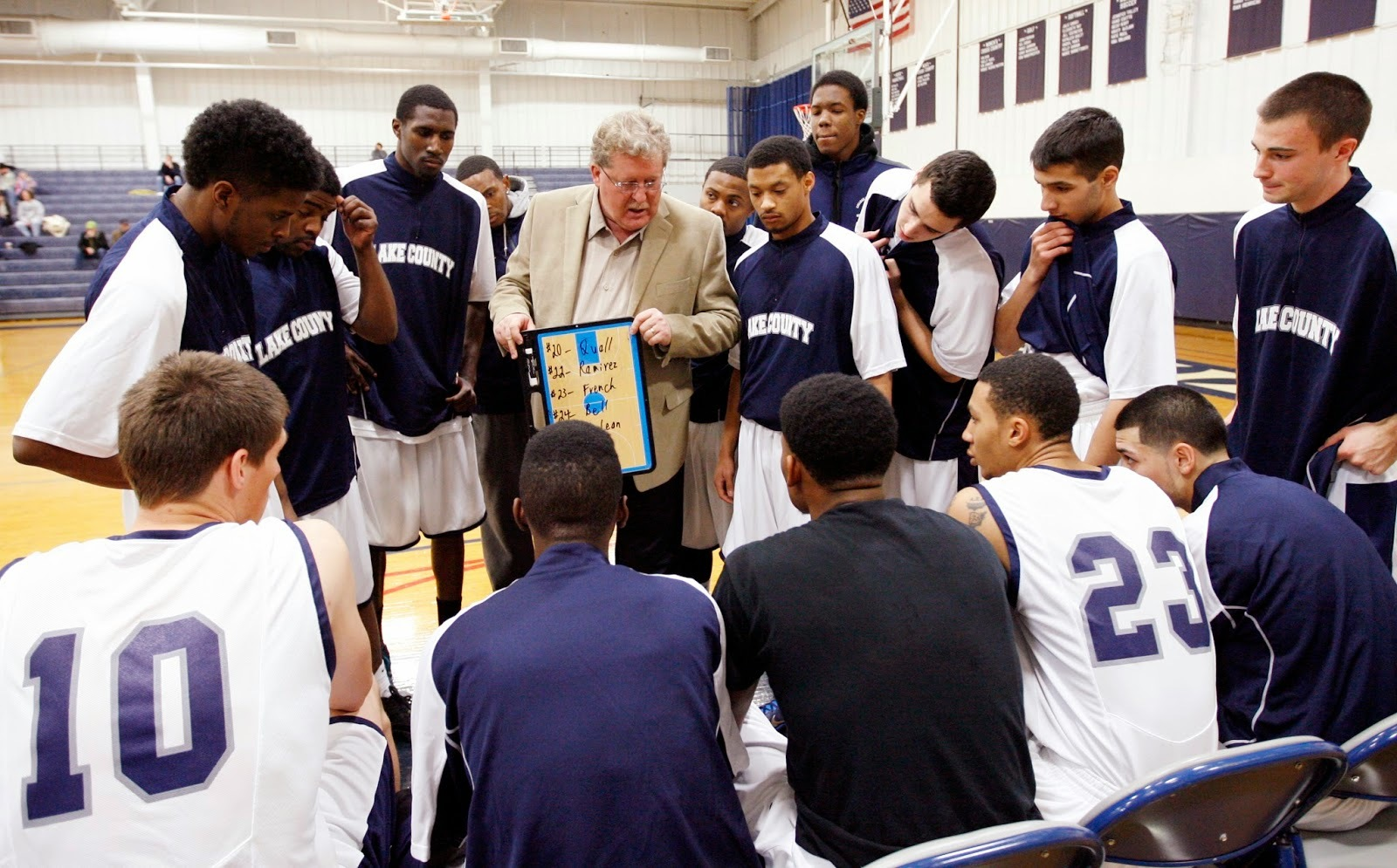 College of Lake County men's basketball coach Chuck Ramsey gives instruction to the team during a game.
