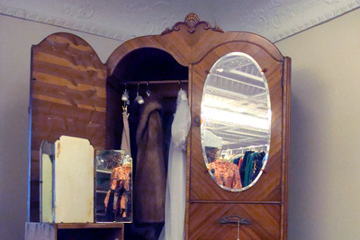 Many antique dressers and wardrobes came with affixed mirrors.