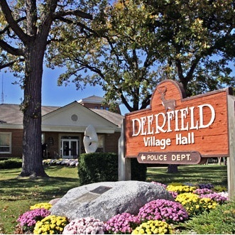 Village of deerfield angled sign