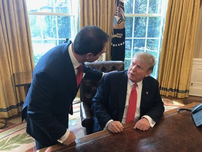 Louisiana Attorney General Jeff Landry talks with President Donald Trump in this photo tweeted by Landry on Feb. 28.