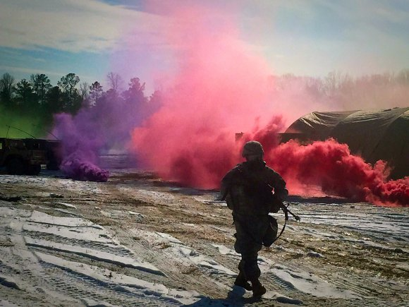 A Soldier from the 22nd Chemical Battalion trains for chemical, biological, radiological, nuclear and explosive elimination operations on Fort A.P. Hill, Virginia, Feb. 26 – March 6.
