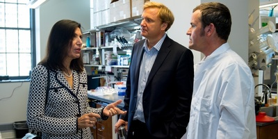 Northwestern University Neurology Chair Dimitri Krainc, center, with then visiting Howard Hughes Medical Institute Investigator Huda Zoghbi, left, and another researcher in a 2016 photo. Krainc is a named defendent in Teepu Siddique's lawsuit