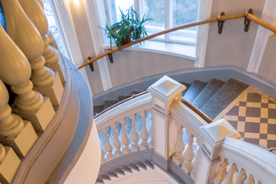 Classic staircase railings add an elegant touch to a home interior.