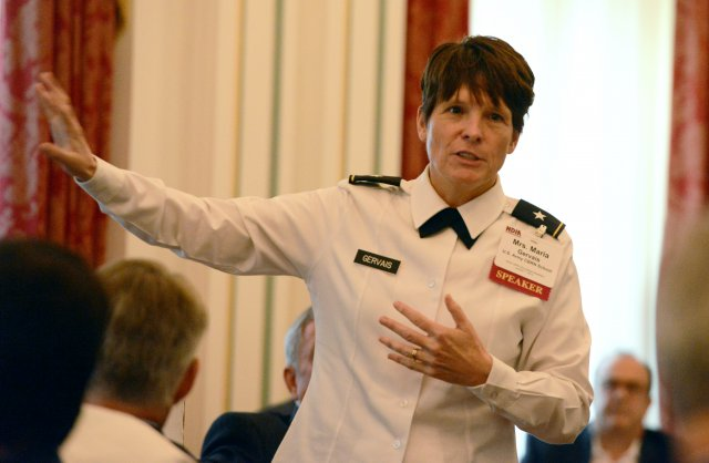 Brig. Gen. Maria Gervais, commandant of the U.S. Army Chemical, Biological, Radiological, and Nuclear School, discussed the threat of weapons of mass destruction posed by Islamic State, and state actors, Oct. 7, 2014, at a National Defense Industrial Asso