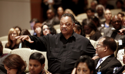 The Rev. Jesse Jackson makes some comments from the audience during a panel discussion at the Rainbow PUSH Coalition workshop hosted at Intel headquarters on Dec. 10, 2014 in Santa Clara, Calif. Jackson has been leading the effort to push high-tech compan