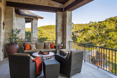 Outdoor couches create a comfortable place for conversation.