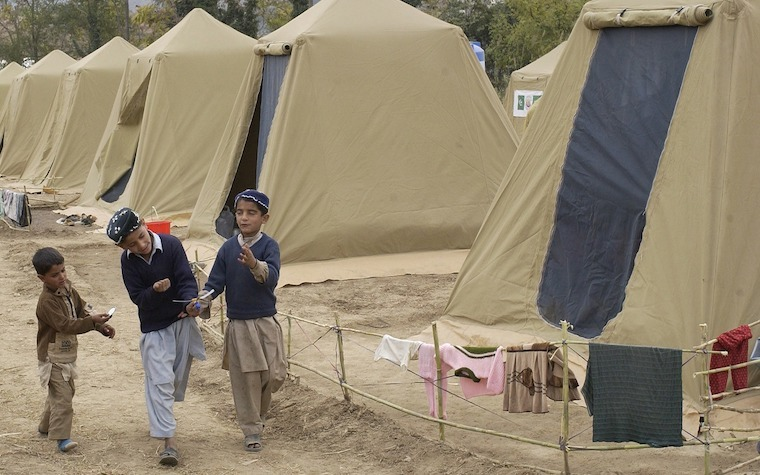 Refugee camp in Shinkiari, Pakistan.