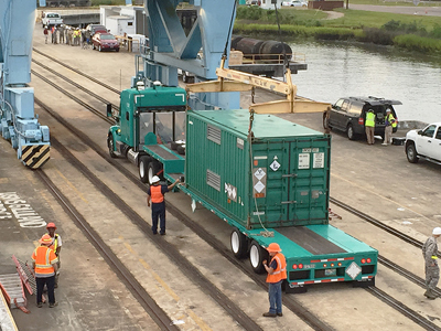 Crews load up 2.2 kilograms of highly enriched uranium held by the University of Basel to be stored at the Savannah River Site.