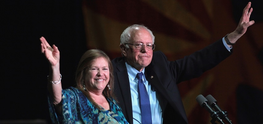 Jane and Bernie Sanders campaigning in Phoenix last March.
