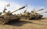 Peshmerga tanks patrol outside Kirkuk, Iraq.