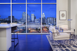 The city skyline itself is the decorative feature for this downtown Austin loft.