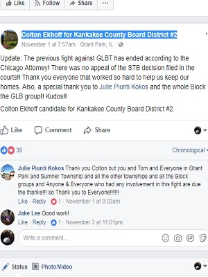 Kankakee County Board candidate celebrates death of rail