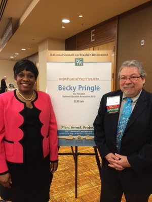 National Education Association Vice President Becky Pringle and Jim Sando attend a recent NCTR conference.