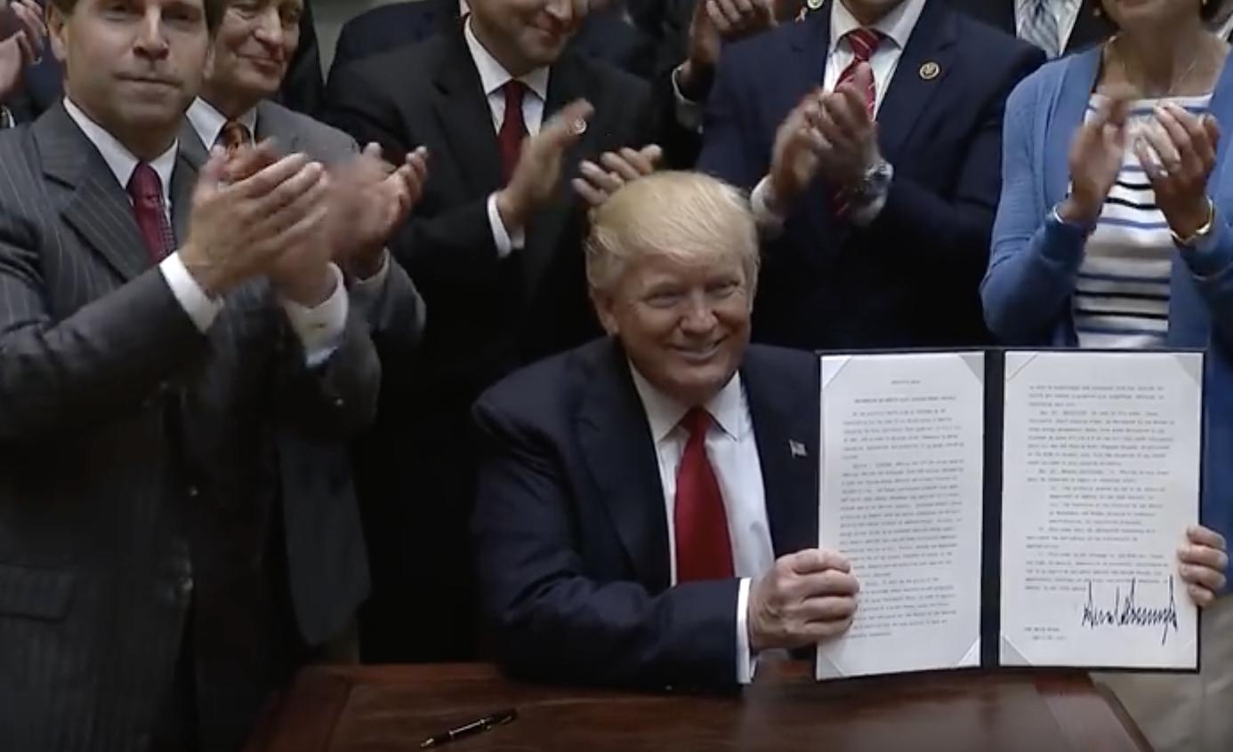 On April 28, 2017, President Donald Trump signed an executive order to implement his