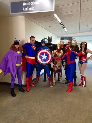 The Austin Police Department's SWAT team dressed up in Super Hero costumes recently and visited the patients at Dell Children's Medical Center.