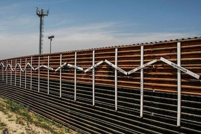 Medium border wall at tijuana and san diego border