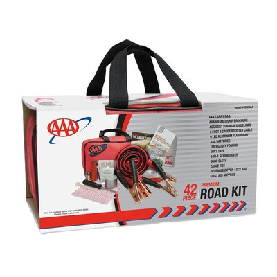 The 42-piece AAA emergency road-assistance kit includes tools, a first aid kit and other items to increase visibility if your car breaks down.