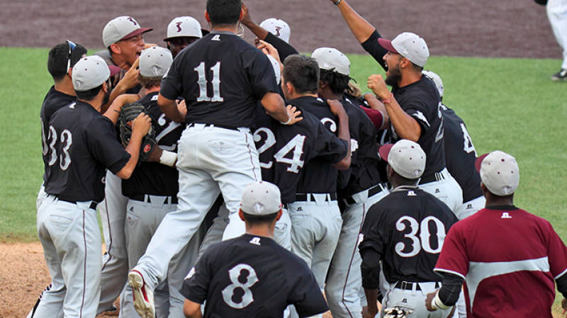 Texas Southern's baseball team celebrates after winning the Southern Athletic Conference tournament