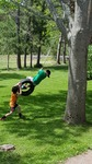 Kids playing on a tire swing