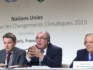 IAEA Deputy Director General Mikhail Chudakov (center) speaks at a Paris Climate Change Conference forum.