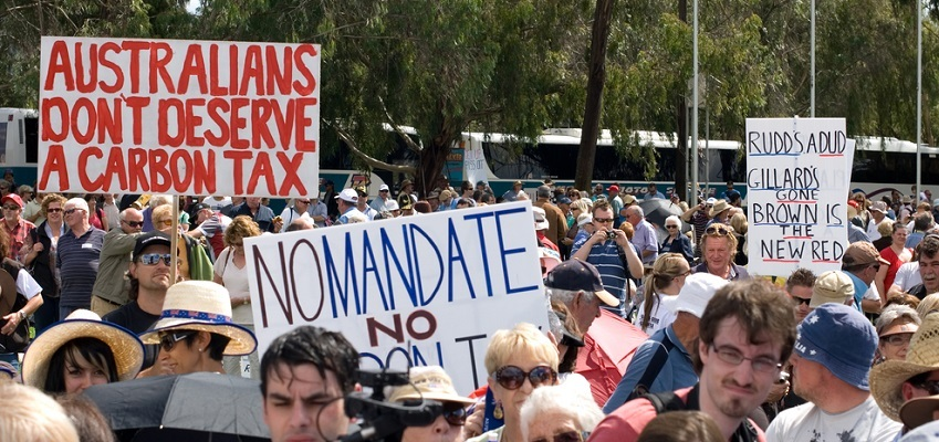 Protests erupted in Australia when Gillard propsed a carbon tax