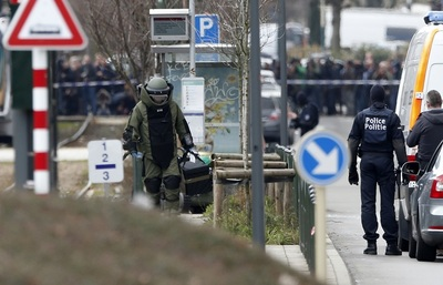 An antiterrorist operation in Brussels' Schaerbeek suburb.