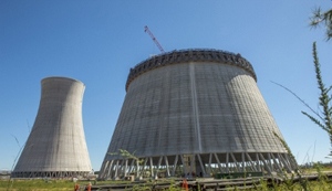 The cooling towers for Vogtle Units 3 and 4, now under construction.